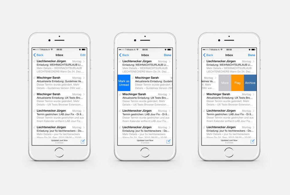 Mockup iOS Email Swipe Funktion