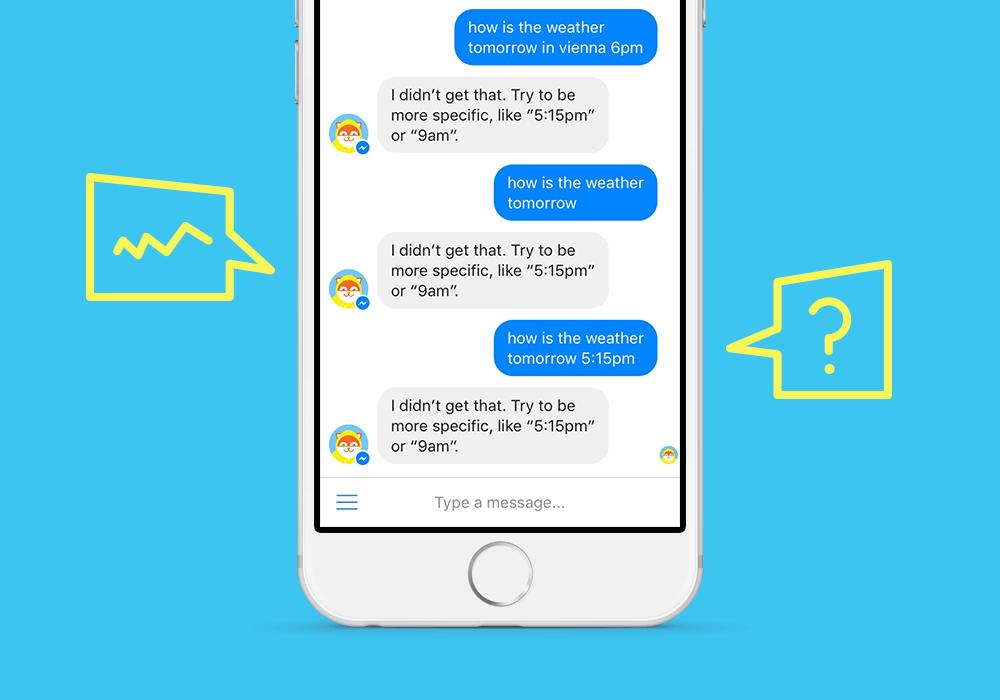 Mockup einer Chatbotkonversation die nicht gut ist
