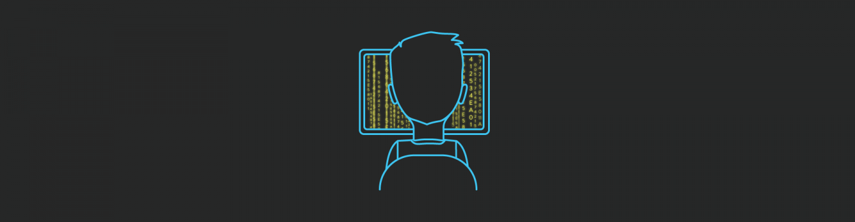 Blog article image illustration of a developer in front of a laptop