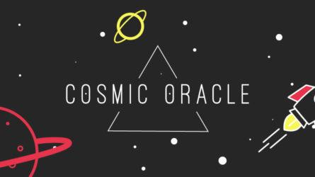 Cosmic Oracle Logo mit Planeten und Rakete