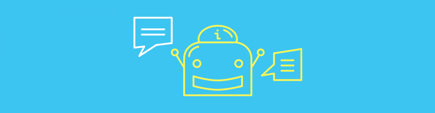 Blog article header image showing a happy chatbot