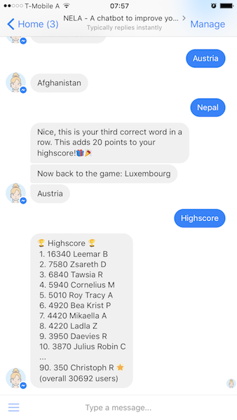 Screenshot of a native Messenger conversation (chatbots)