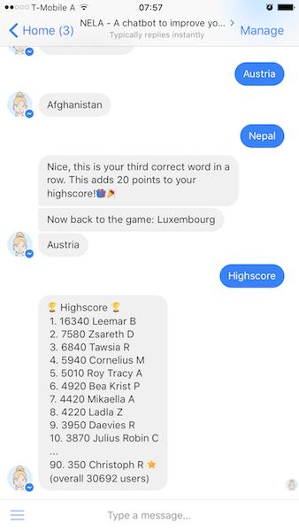 Screenshot of a native Messenger conversation (chatbots)