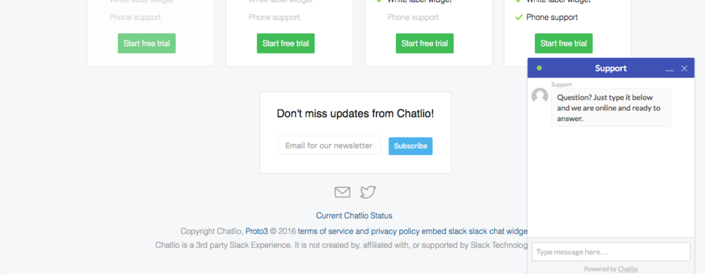 Screenshot of a small chat window on a website (chatbots)