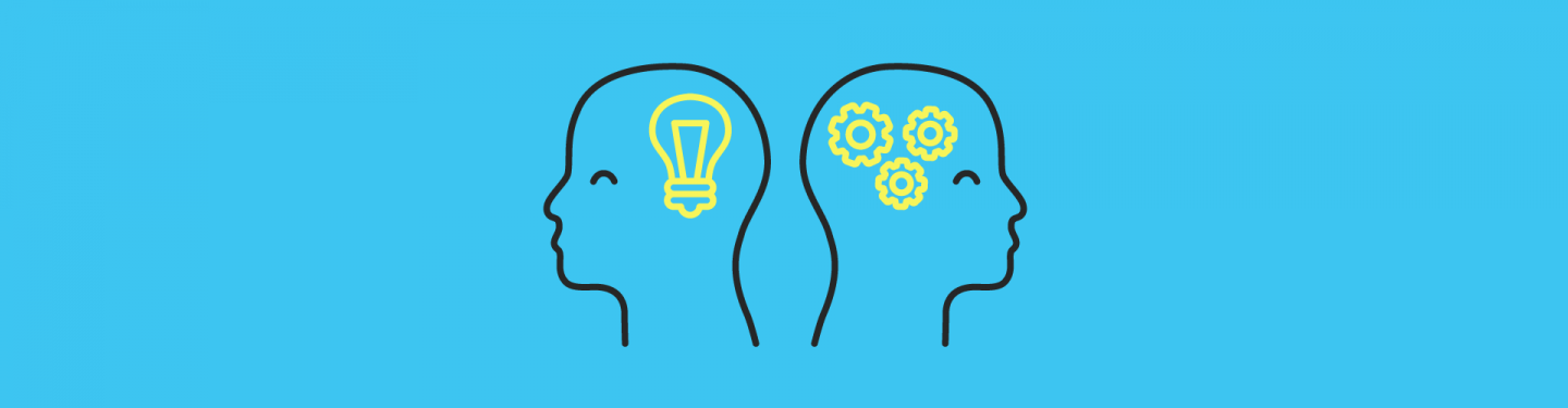 Blog image showing two heads, one thinking about innovation and one working effective