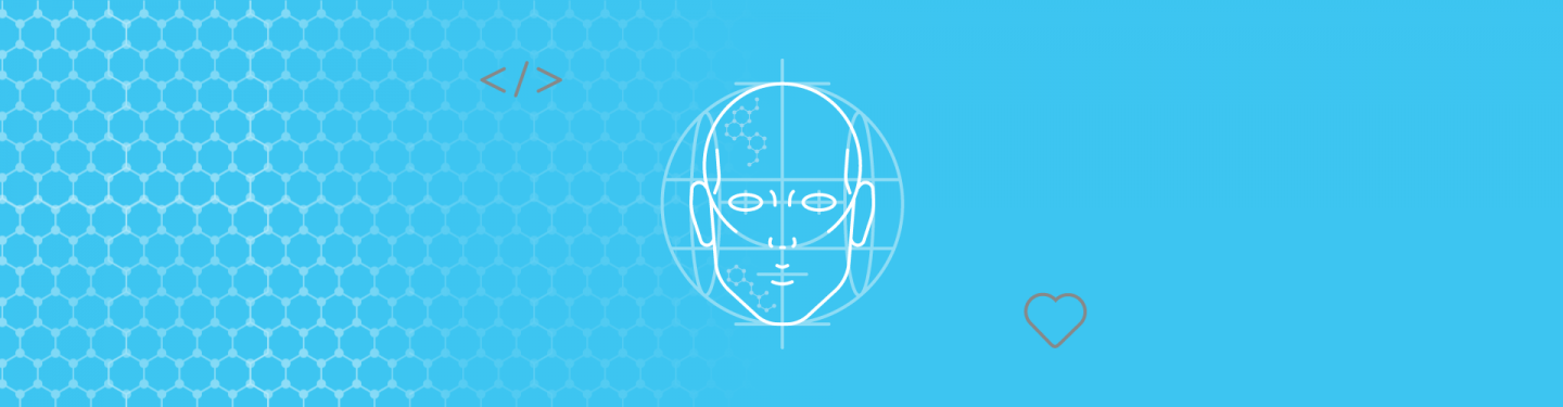Blog article image showing a head that is being drawn with tech and love