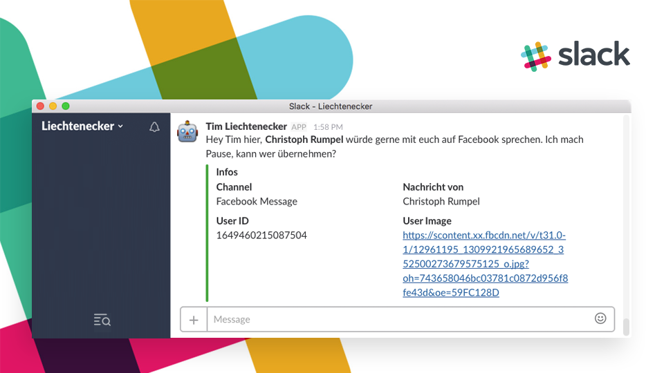 Screenshot of the Slack message which is sent to us when some wants to talk to a human instead of the bot