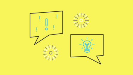 Blog article image showing a lightbulb and conference icons