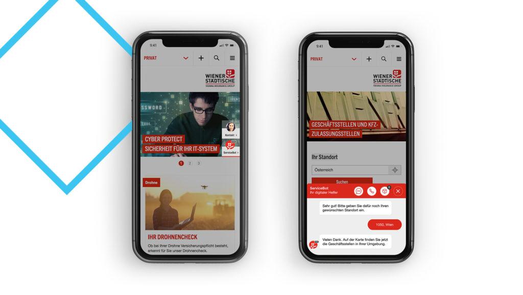 Links: Die mobile Ansicht der Kontaktlasche, Rechts: Die mobile Ansicht des Interfaces