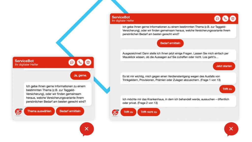 Links: Chatfenster in Ursprungsgröße, Rechts: Vergrößertes Chatfenster bei mehr Inhalt