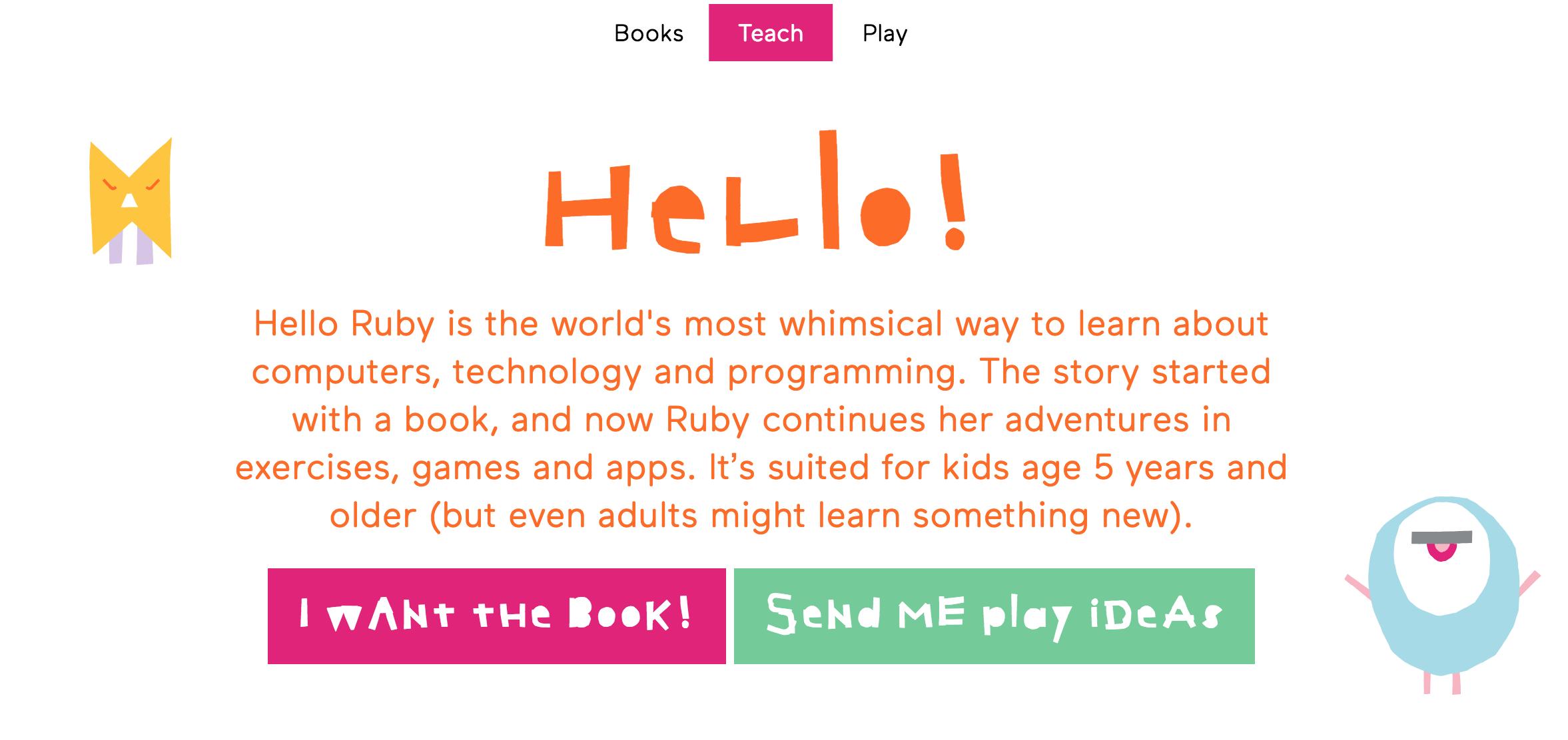 Screenshot der helloruby.com Website