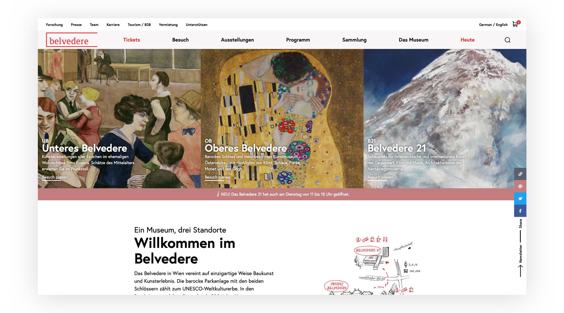 Bild der neuen Startseite von belvedere.at