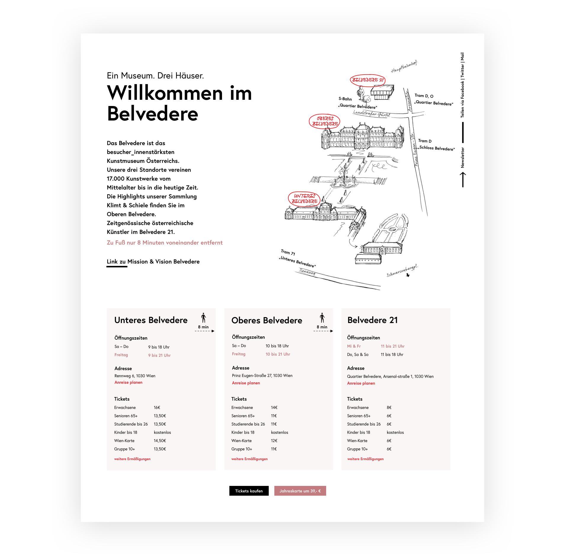 Ein Screenshot der Website mit Einleitungstext und Illustration der drei Häuser. Darunter sind drei Blöcke mit Öffnungszeiten, Adressen und Eintrittspreisen der einzelnen Häuser zu sehen.