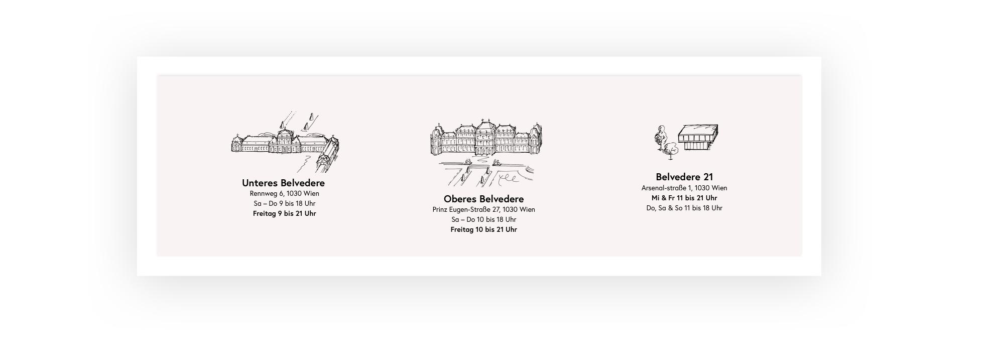 Eine Illustration der drei Häuser mit Adresse im Footer der Website.