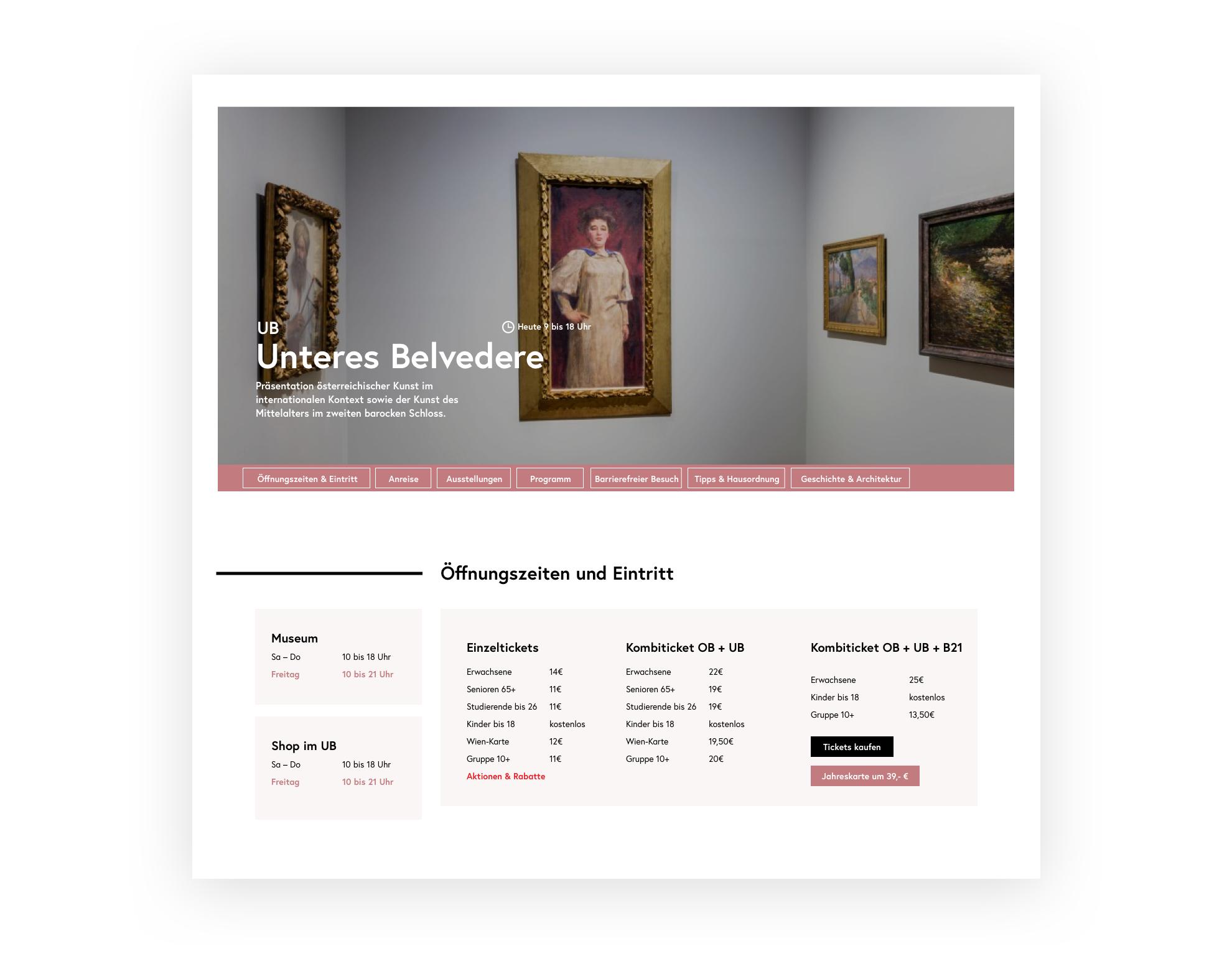 """Ein Screenshot der """"Besuch planen"""" Unterseite. Öffnungszeiten und Ticketpreise aus dem Unteren Belvedere sind abgebildet."""