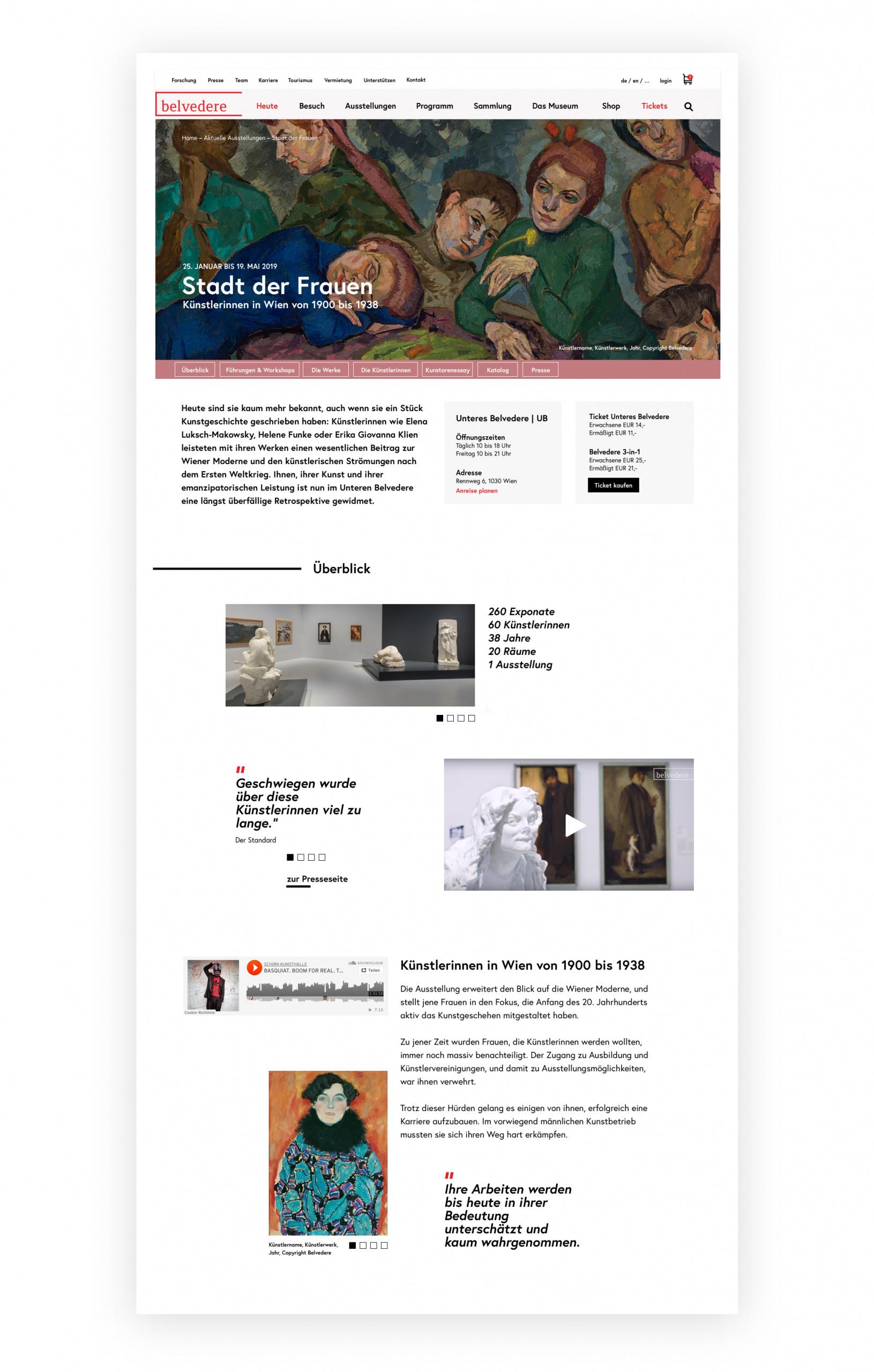 """Screenshot einer Ausstellungsseite am Beispiel """"Stadt der Frauen"""" mit Informationen zu den darin enthaltenen Ausstellungsstücken und KünstlerInnen."""