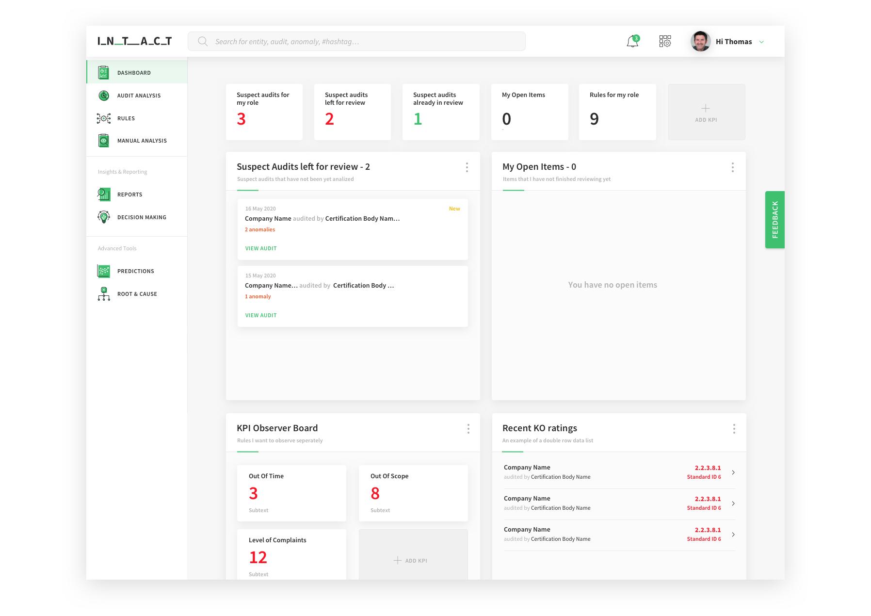 Intact Analytics Dashboard