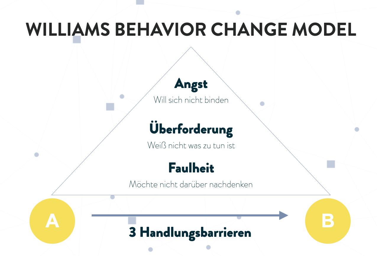 Eine schematische Darstellung des Williams Behaviour Change Modells -> eine Pyramide mit drei Feldern: Angst, Überforderung, Faulheit.
